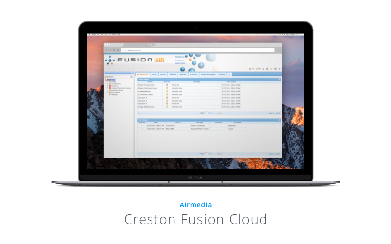 MacBook screen showing AirMedia's Creston Fusion Cloud