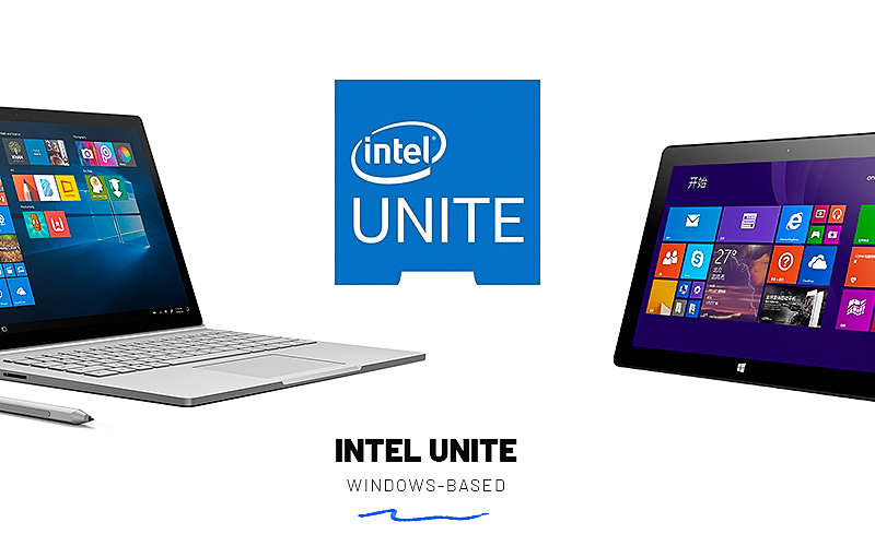 A laptop and a tablet running Windows OS and a logo of Intel Unite