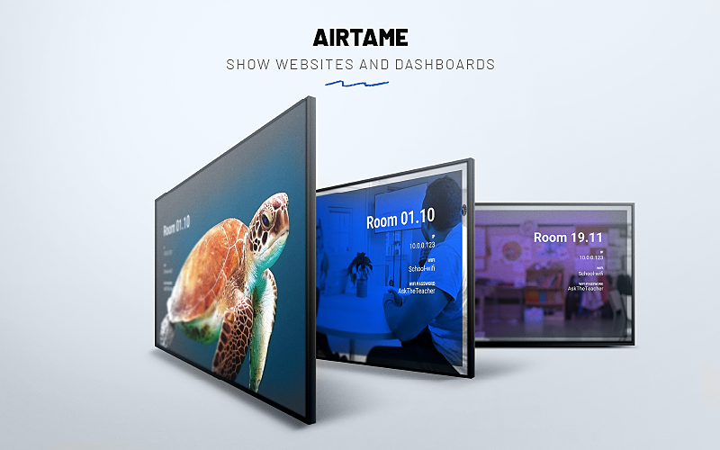 Three displays showing digital signage using Airtame